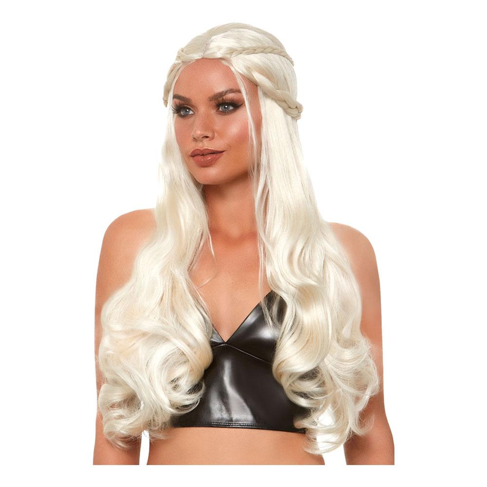 Lång Blond Deluxe Peruk med Flätor - One size