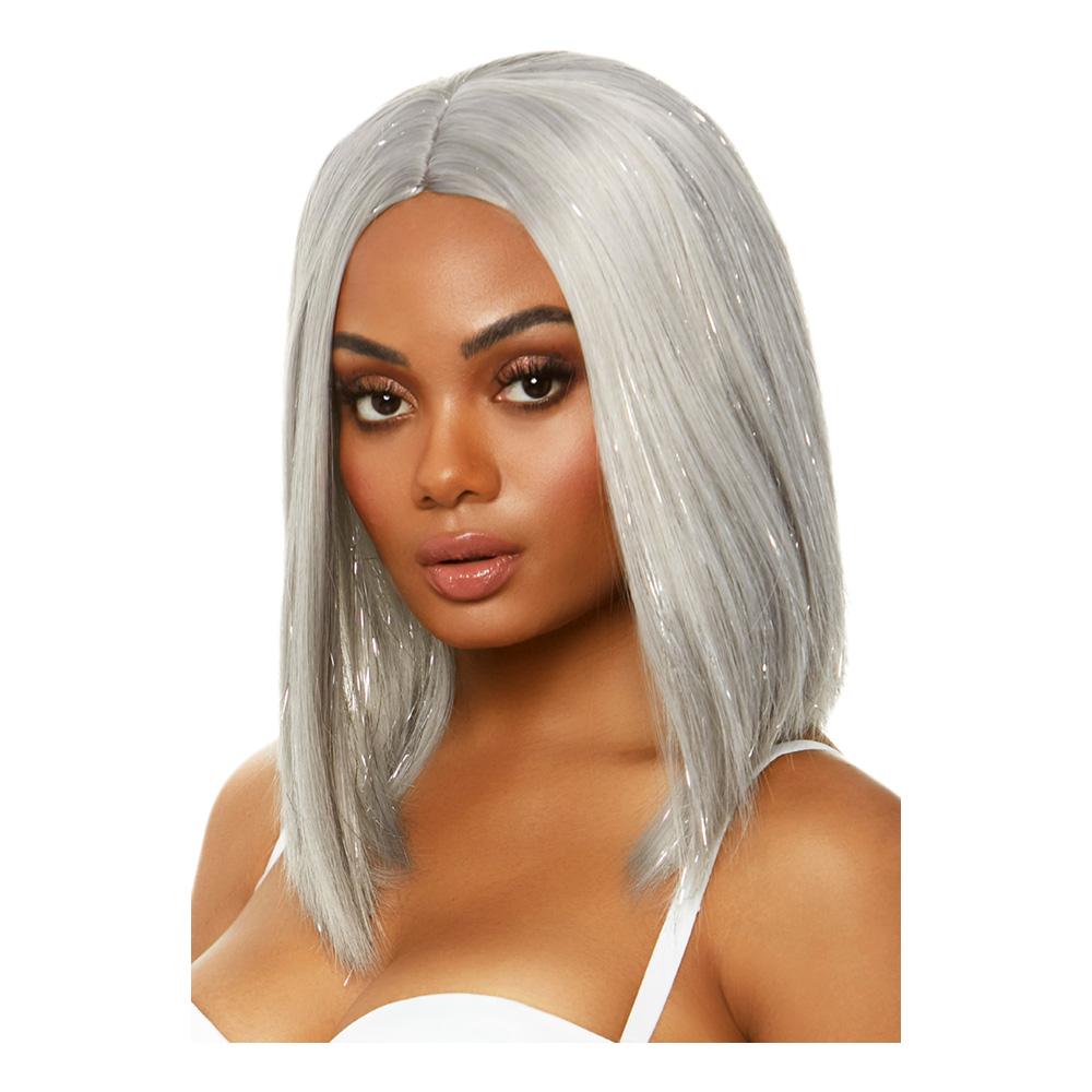 Lång Silver Deluxe Peruk med Glitter - One size