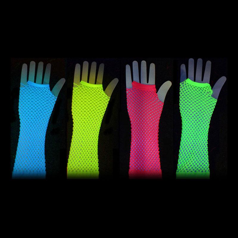 Långa UV Neon Näthandskar - Blå