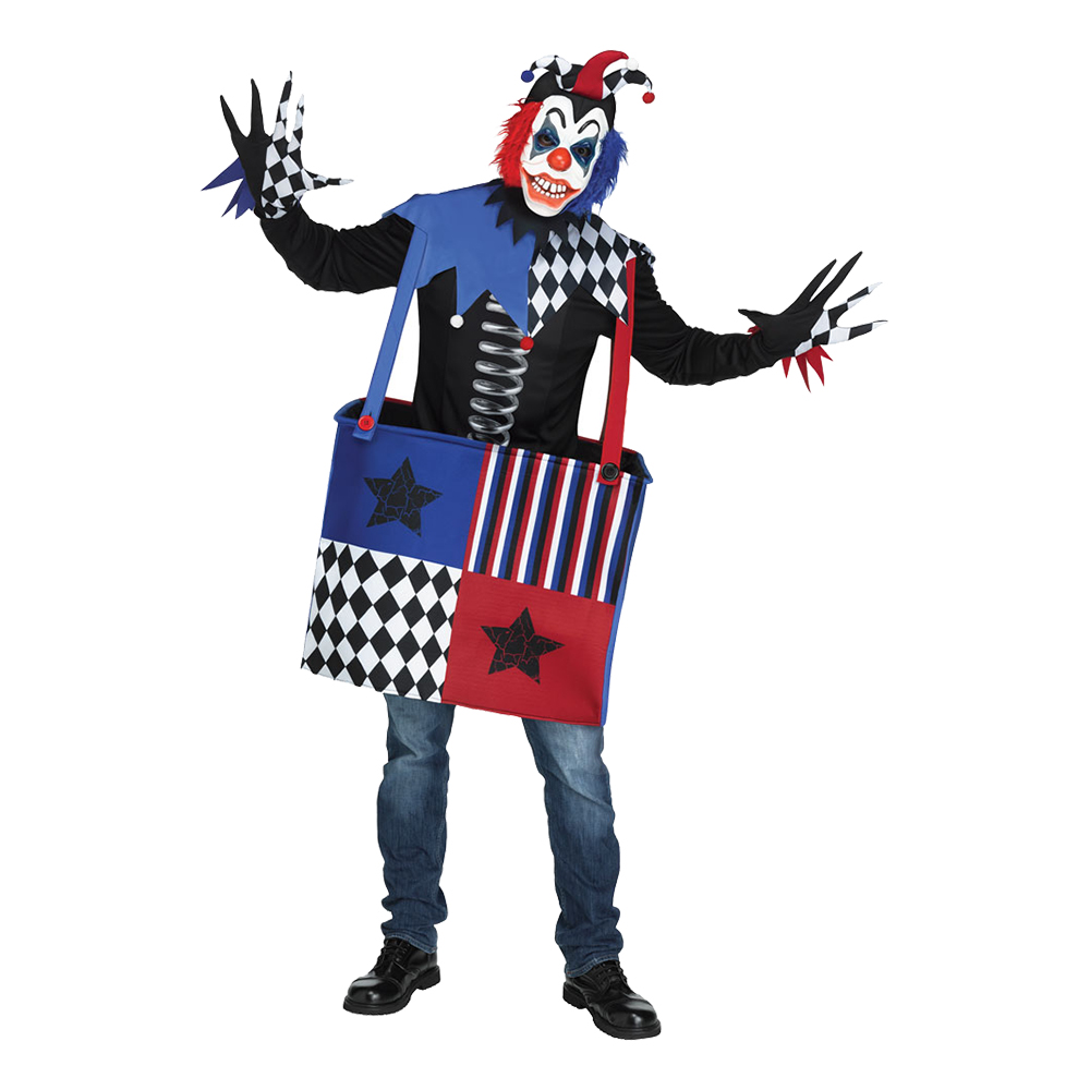 Läskig Clown i Låda Maskeraddräkt - One size