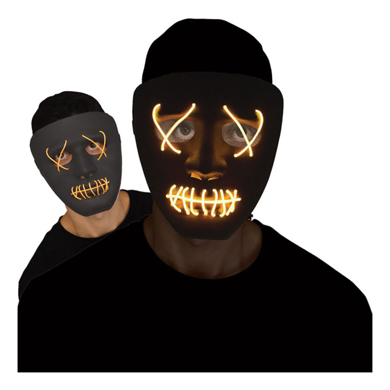LED Mask Stitches Svart/Gul - One size