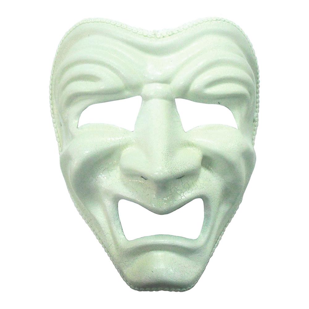 Ledsen Vit Teatermask - One size