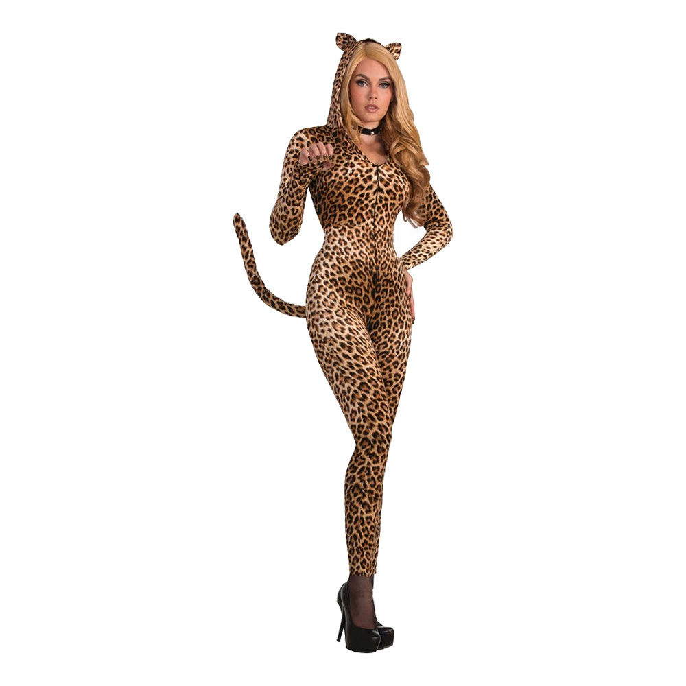 Bodysuit Leopard med Svans Maskeraddräkt - One size