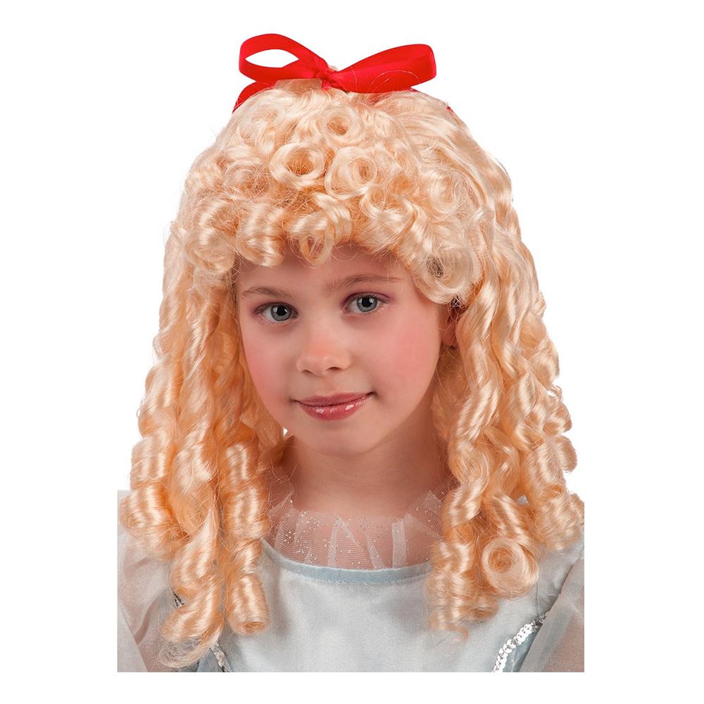 Lockig Blond Barnperuk med Röd Rosett - One size