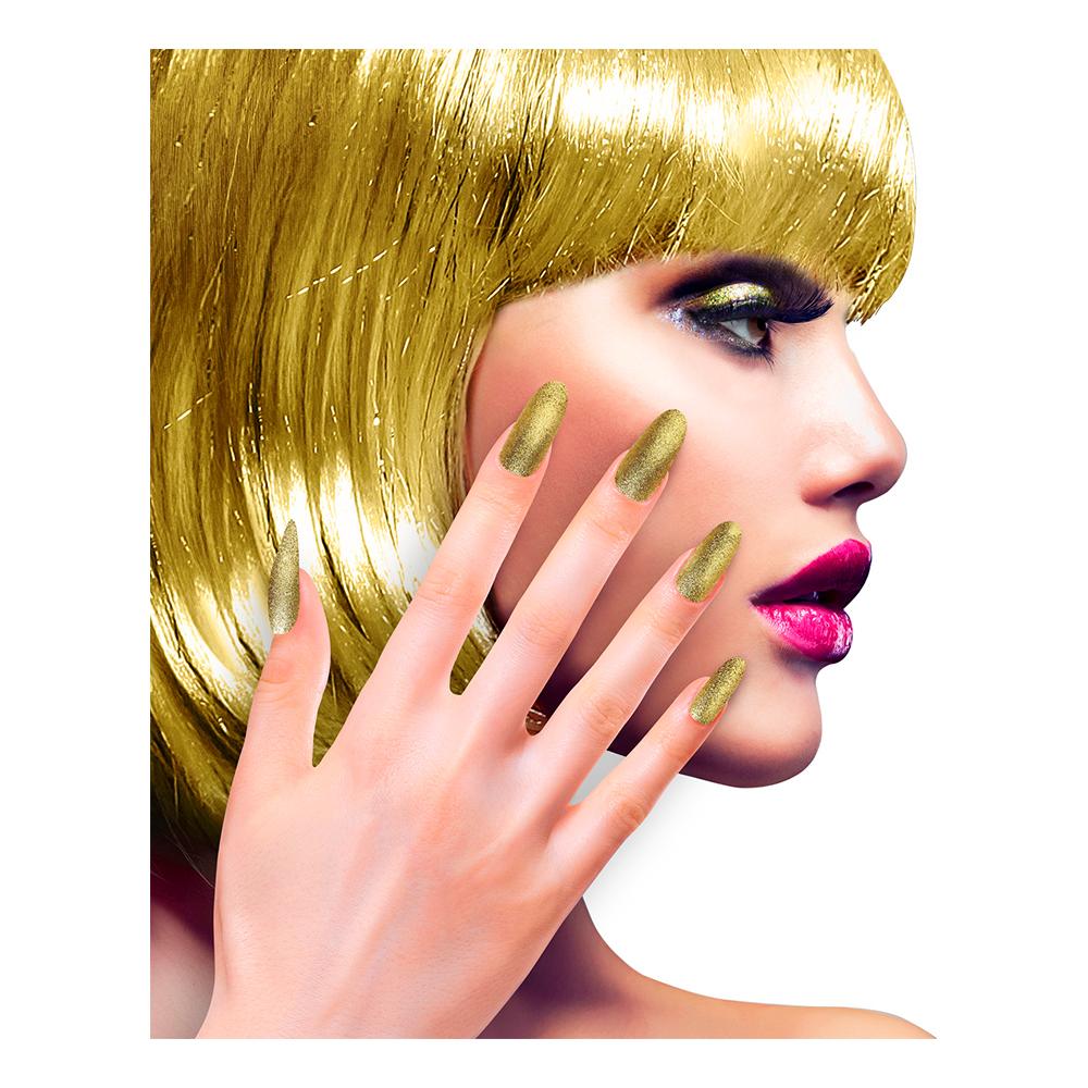 Lösnaglar Glitter Guld - 12-pack