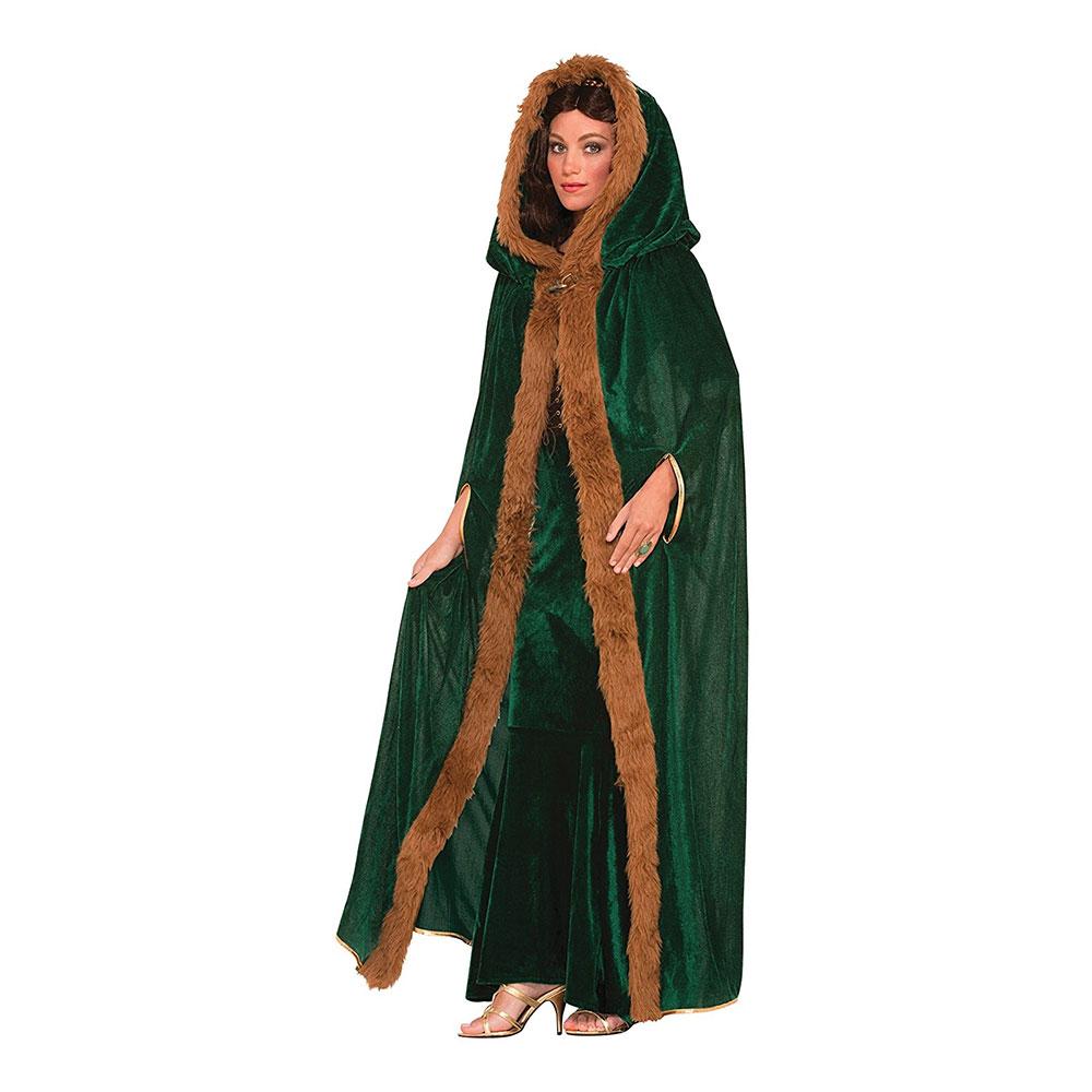 Mantel med Huva Grön - One size
