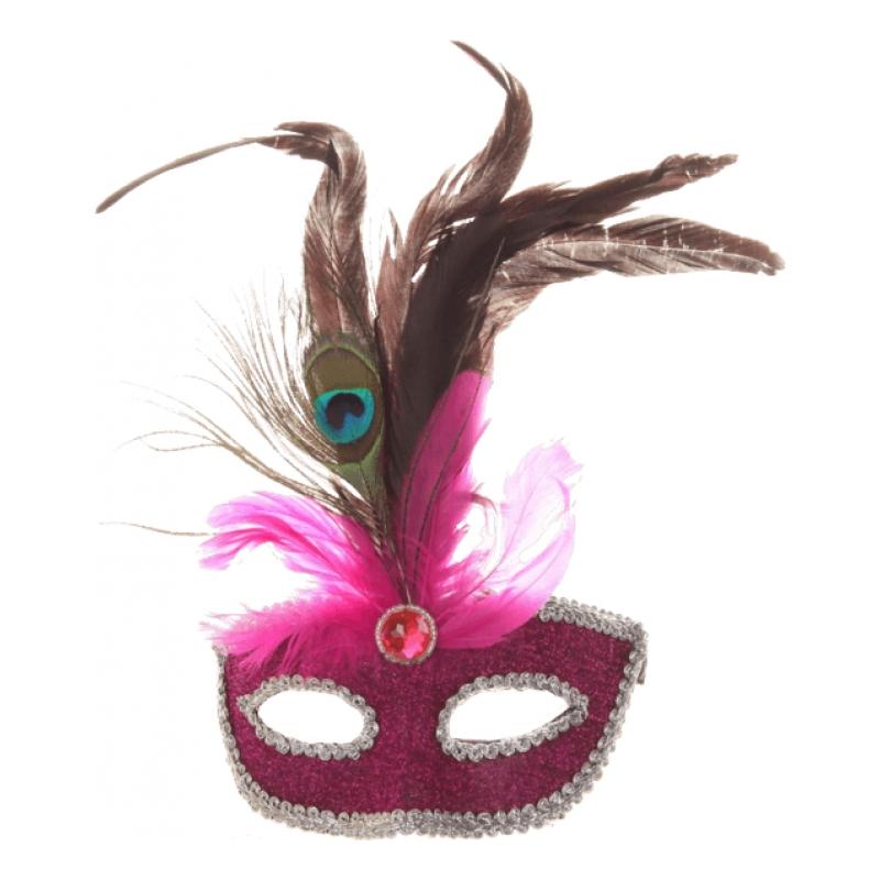 Maskeradmask med Fjädrar - One size