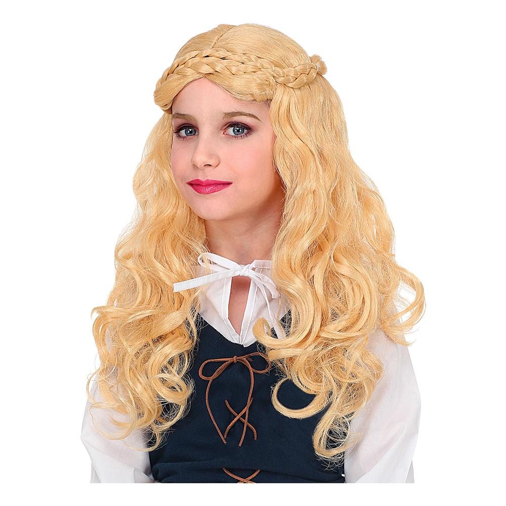 Medeltida Flicka Blond Barnperuk - One size