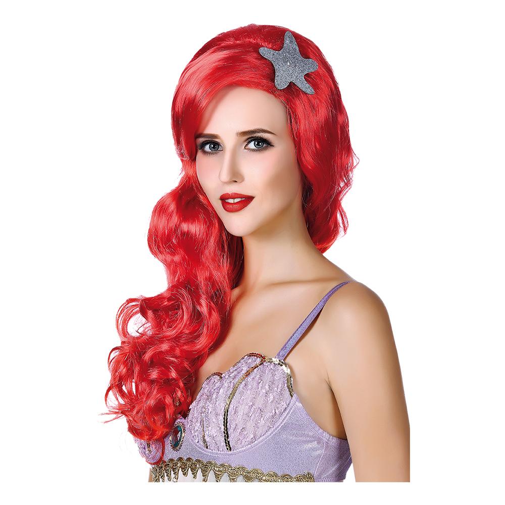 Mermaid Röd Peruk - One size