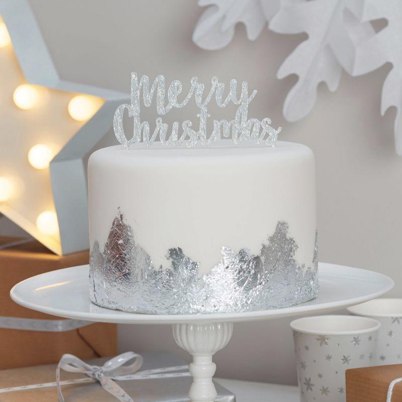 Merry Christmas Tårtdekoration Silver Glitter