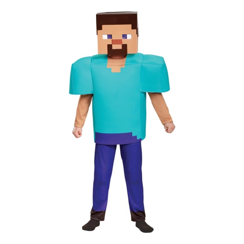 Minecraft Steve Deluxe Barn Maskeraddräkt - Small