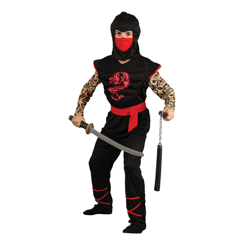 Ninja med Muskelbröst Barn Maskeraddräkt - Large billigt online ... 9b05ba027ad25