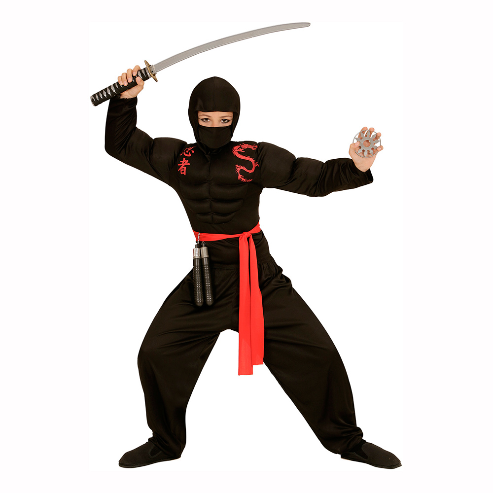 Ninja med Muskler Barn Maskeraddräkt - Large