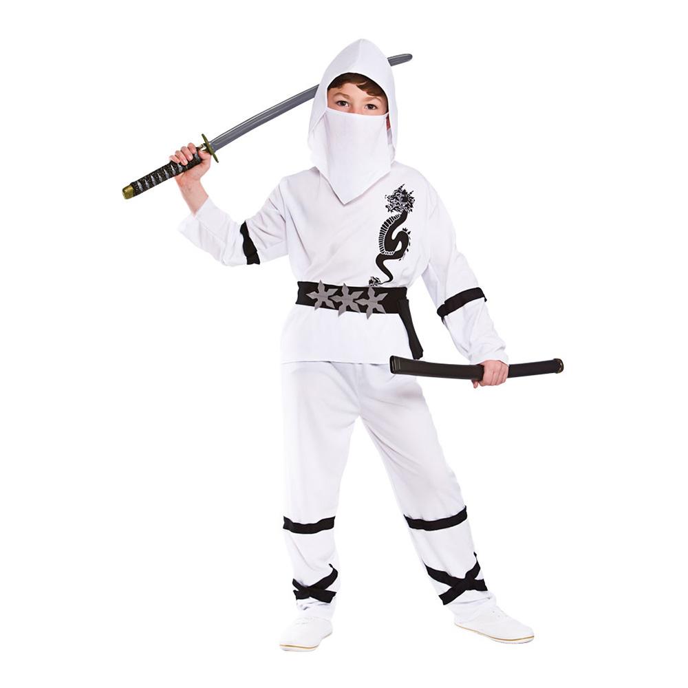 Ninja Vit Barn Maskeraddräkt - Medium
