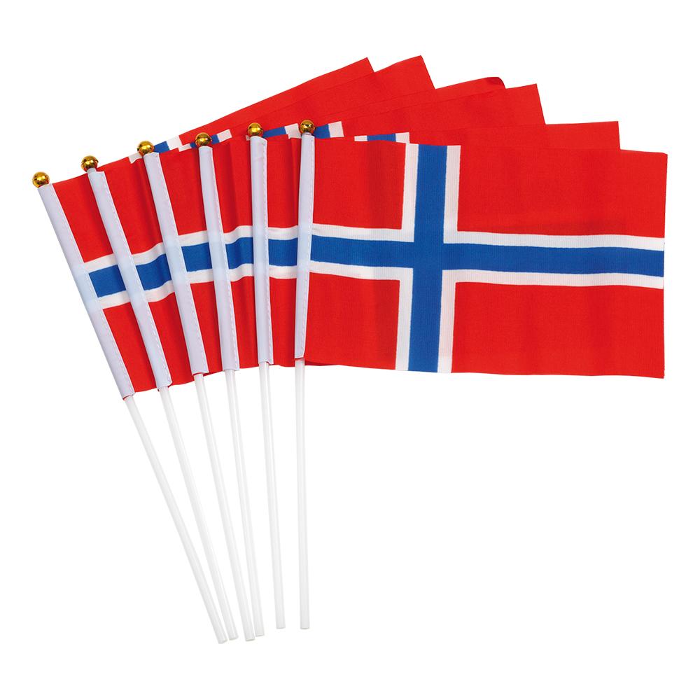 Handflaggor Norge - 6-pack