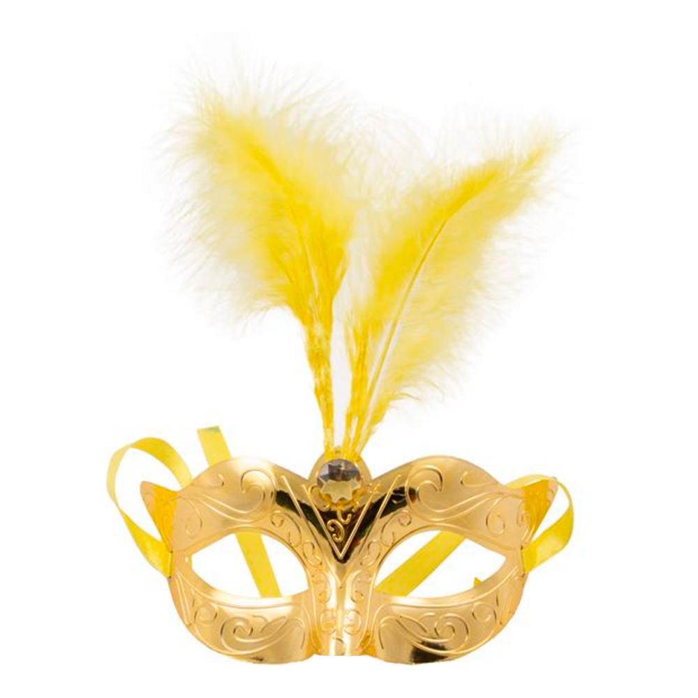 Ögonmask med Fjädrar Guld Metallic