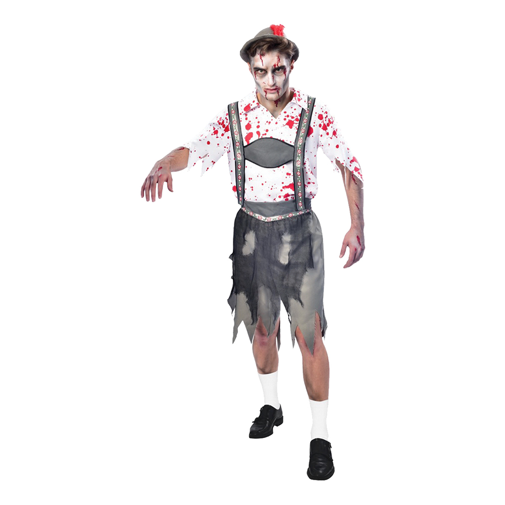 Oktoberfest Zombie Man Maskeraddräkt - Medium
