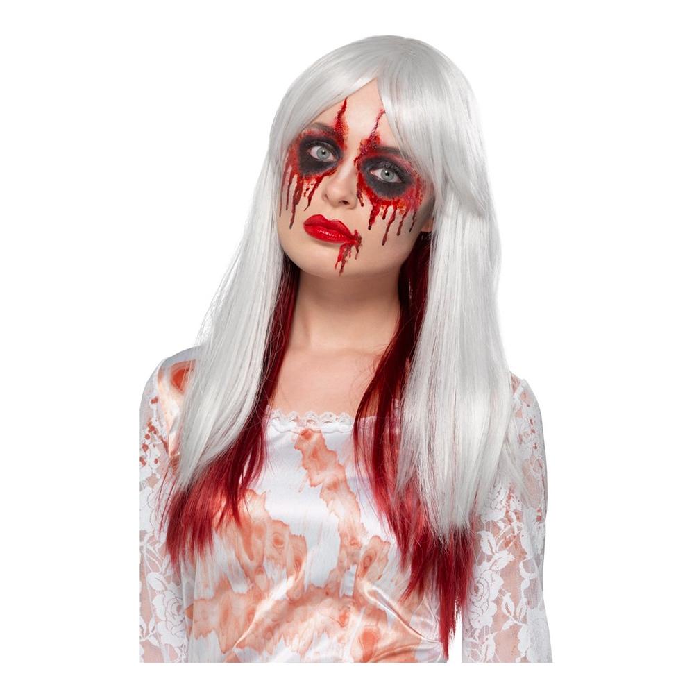 Ombre Vit/Röd Halloween Deluxe Peruk - One size