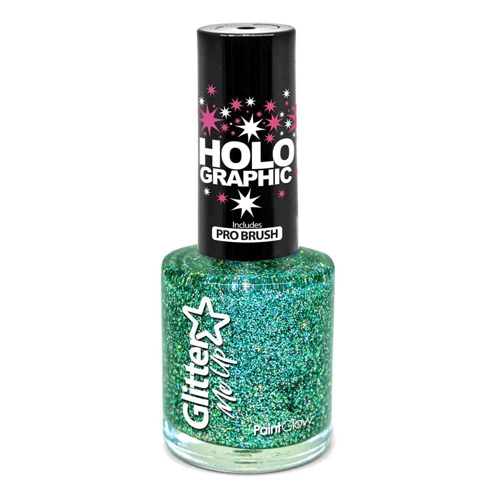 PaintGlow Holografisk Glitter Nagellack - Grön