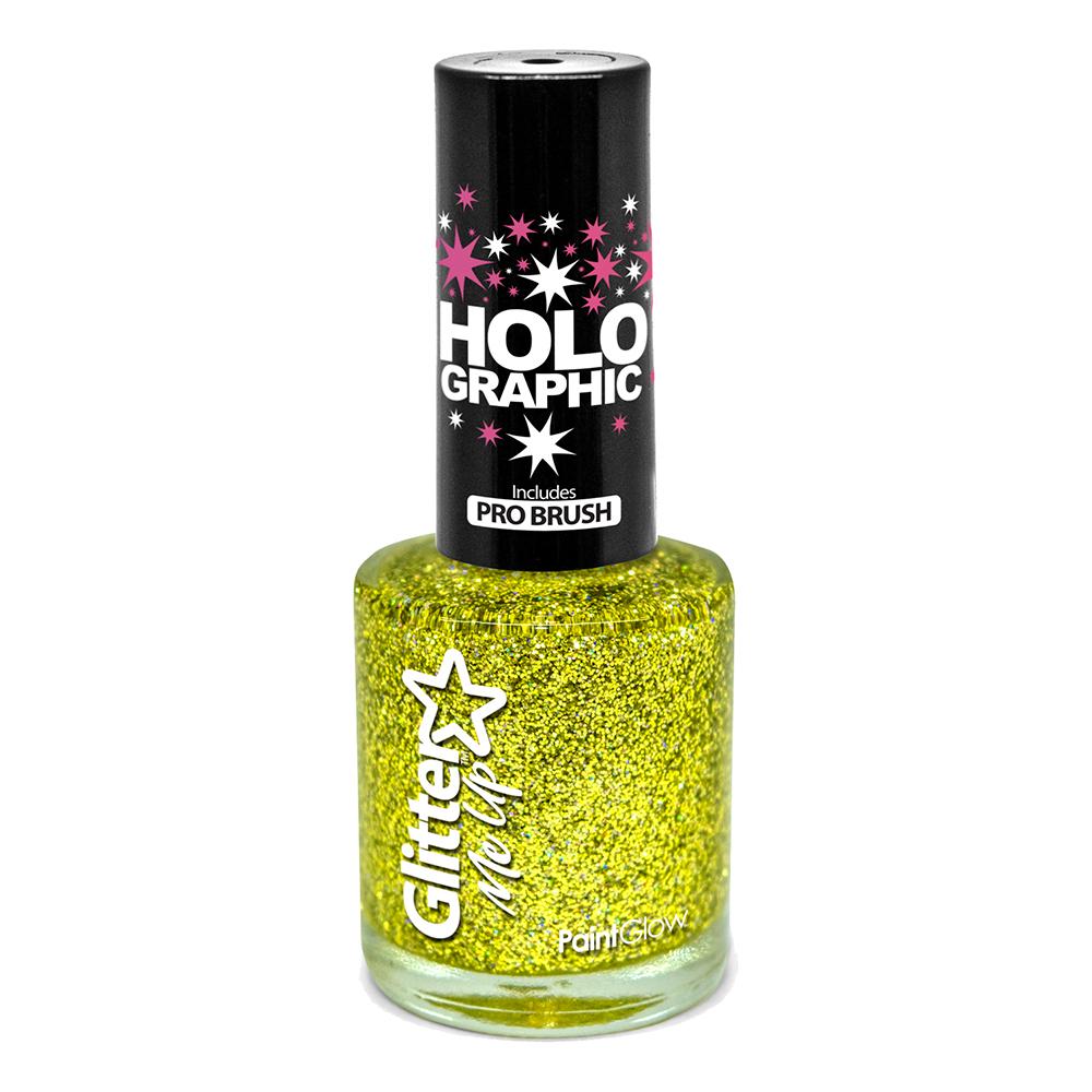 PaintGlow Holografisk Glitter Nagellack - Guld