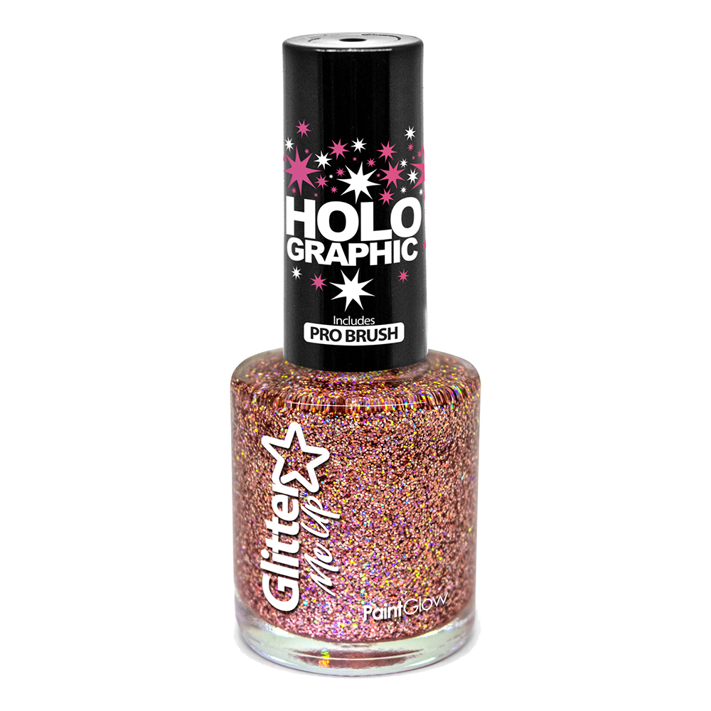PaintGlow Holografisk Glitter Nagellack - Roséguld