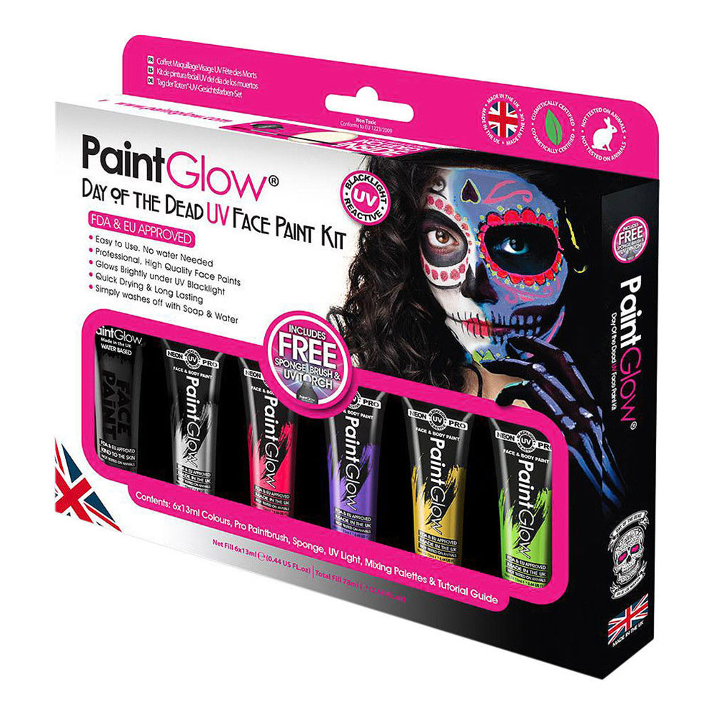 PaintGlow UV Day of the Dead Sminkset