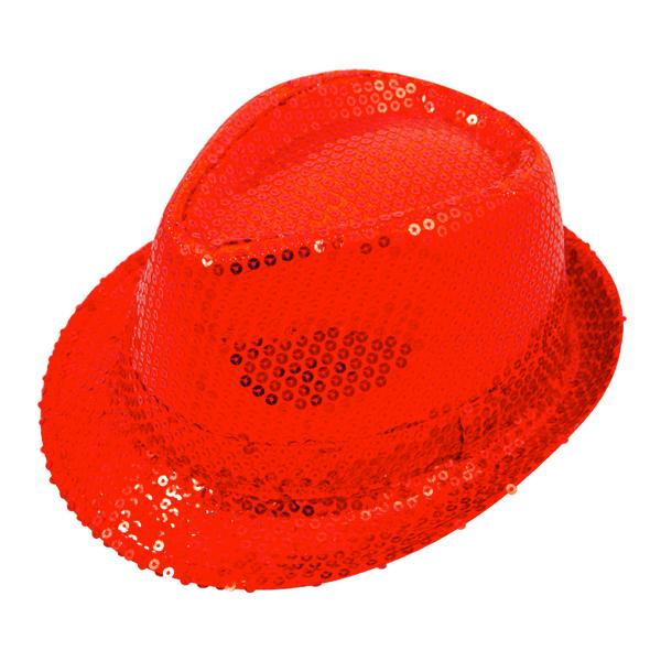 Paljetthatt Gangster Röd - One size