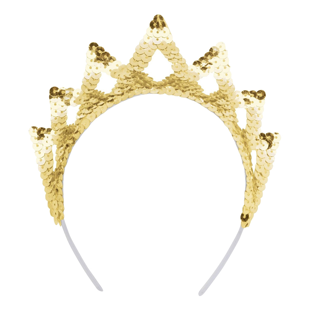 Paljettdiadem Krona Guld