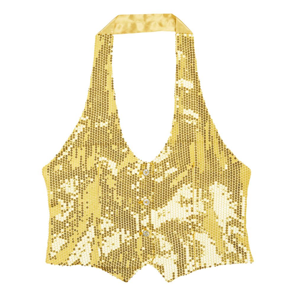 Paljettväst Dam Guld - One size