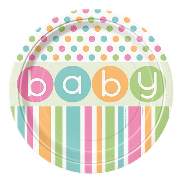 Pappersassietter Babyshower Pastell - 8-pack
