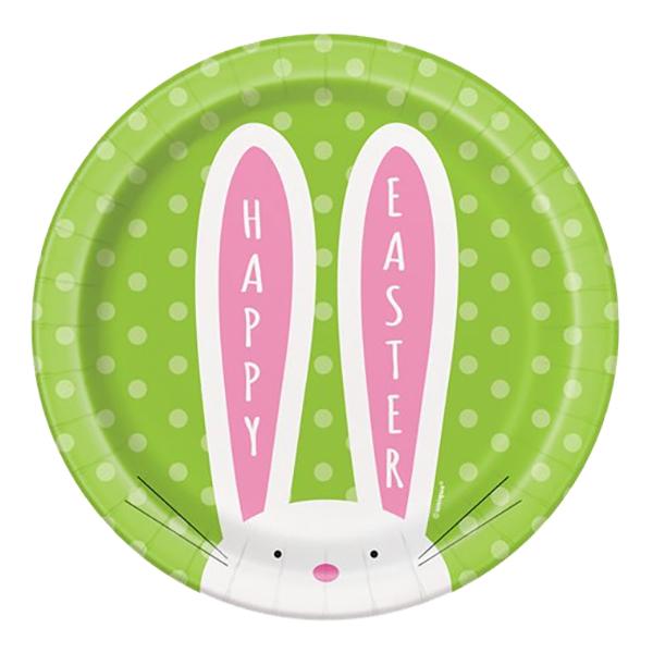 Pappersassietter Happy Easter Kanin - 8-pack