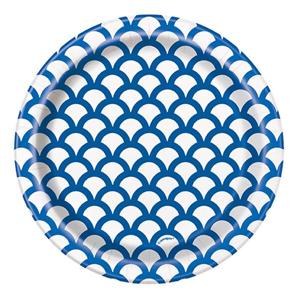 Pappersassietter Snäckskal Blå - 8-pack