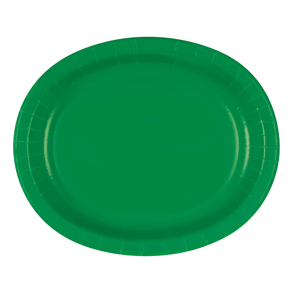 Pappersfat Oval Grön - 8-pack