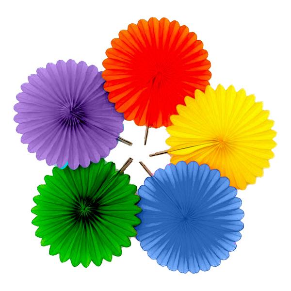 Pappersfjädrar Regnbåge Hängande Dekoration - 5-pack