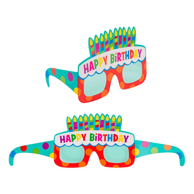 Pappersglasögon Happy Birthday - 4-pack