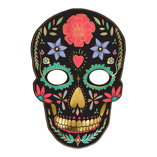 Pappersmask Dia de Los Muertos Svart - 1-pack
