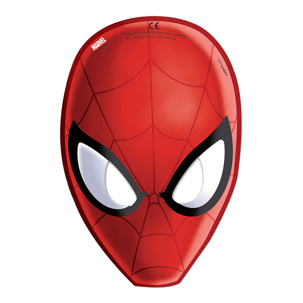 Pappmasker Spiderman - 6-pack