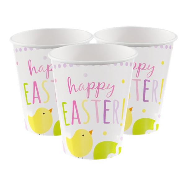 Pappersmuggar Happy Easter Kyckling - 8-pack