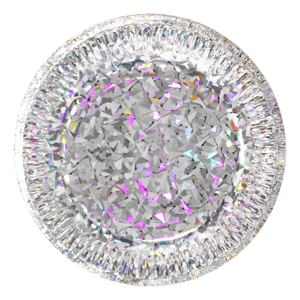 Papperstallrikar Hologram - Silver 6-pack
