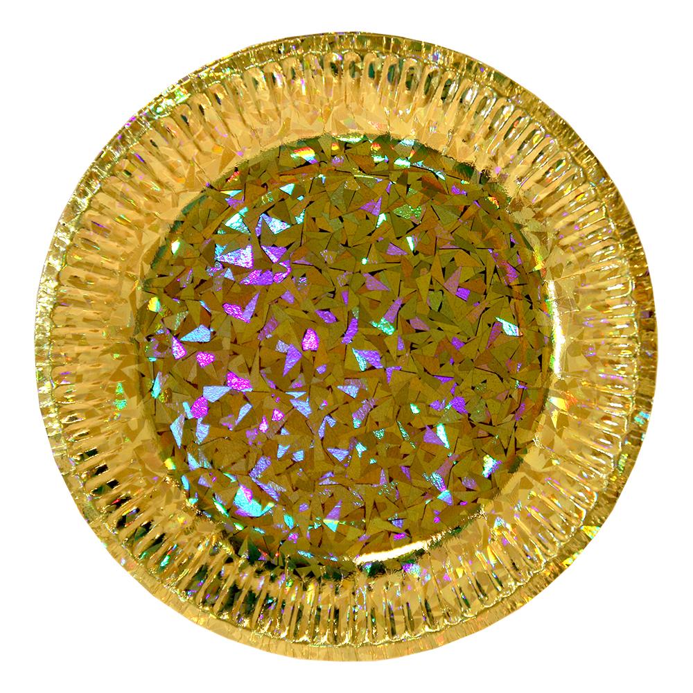 Papperstallrikar Hologram - Guld 6-pack
