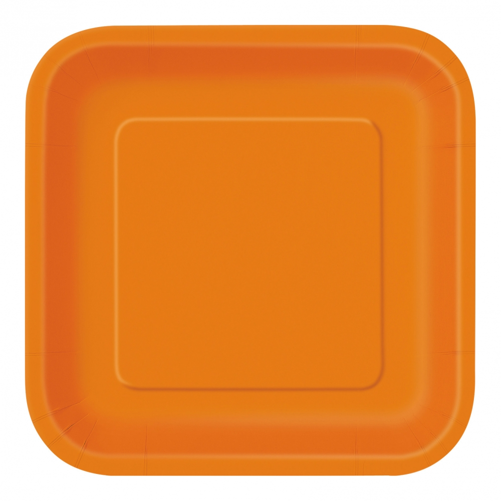 Papperstallrikar Kvadrat Orange - 14-pack
