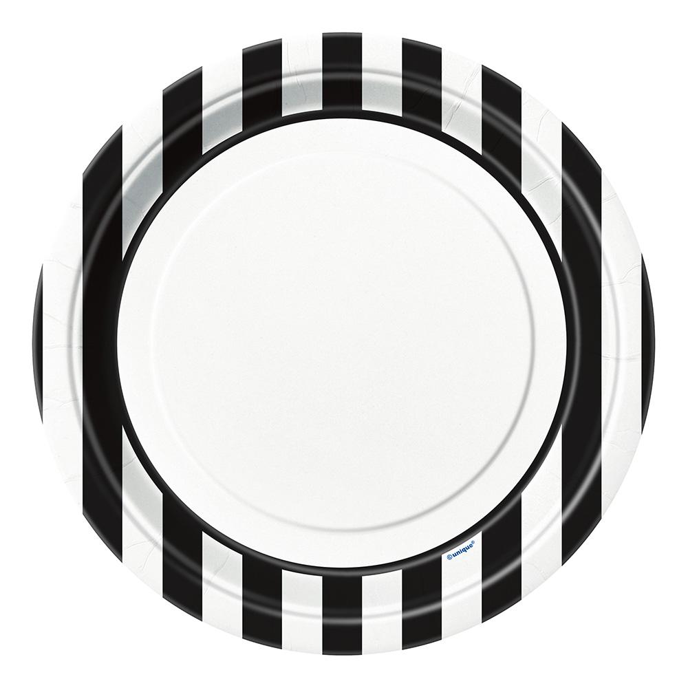Papperstallrikar Svart/Vita Randiga - 8-pack
