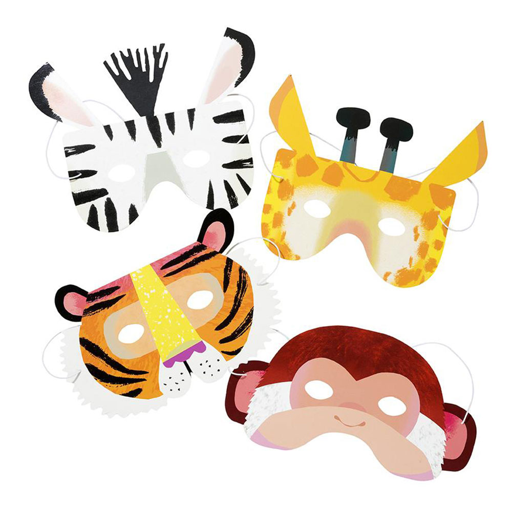 Party Animals Pappmasker - 8-pack