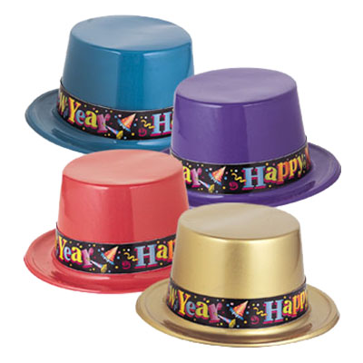 Partyhatt i Plast Happy New Year - 1-pack