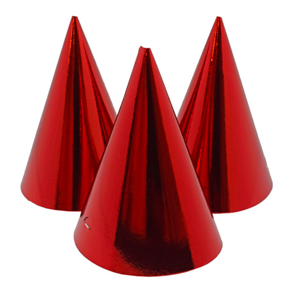 Partyhattar Röd Metallic - 6-pack