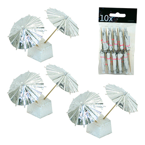 Partyparasoll Silver - 10-pack