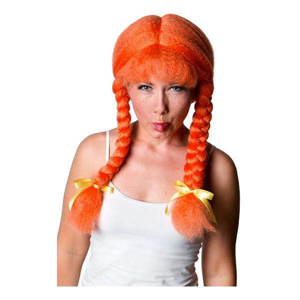 Peruk Orange med Tofsar - One size
