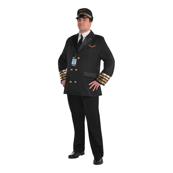 Pilot Klassisk Maskeraddräkt - X-Large