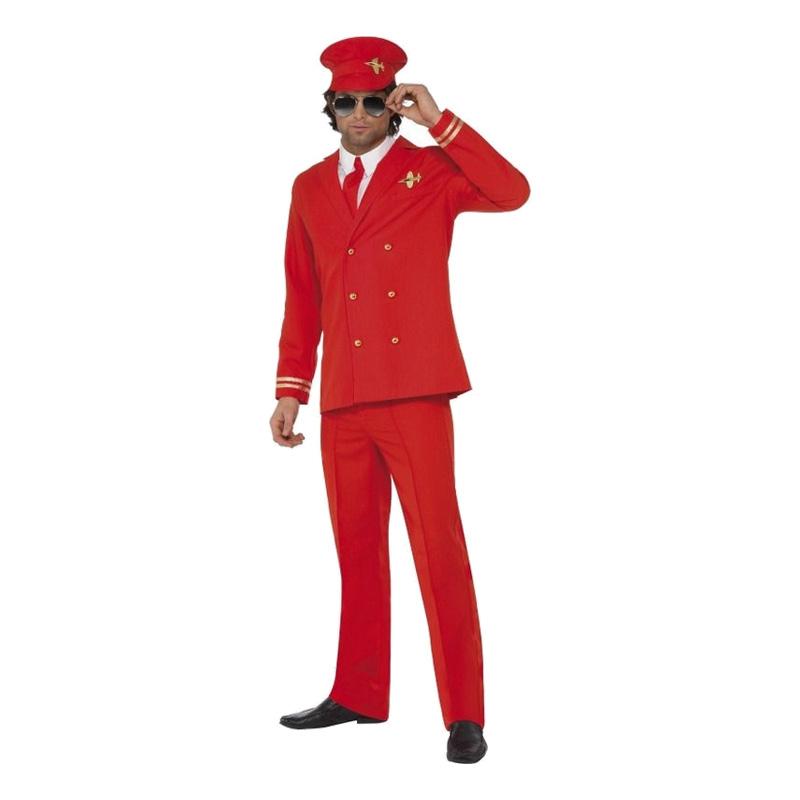 Pilot Röd Maskeraddräkt - Medium