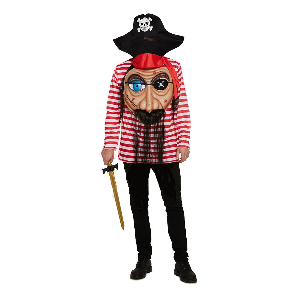Pirat med Jätteansikte Maskeraddräkt - One size